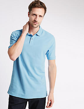 Pure Cotton Polo Shirt with StayNEW™, PALE BLUE, catlanding