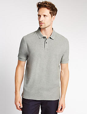 Pure Cotton Polo Shirt with StayNEW™, GREY MIX, catlanding