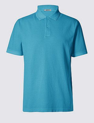 Pure Cotton Short Sleeve Polo Shirt, LIGHT TURQUOISE, catlanding
