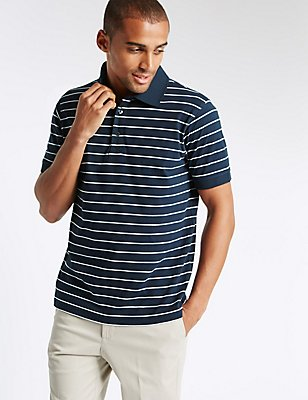 Slim Fit Pure Cotton Striped Polo Shirt , NAVY MIX, catlanding