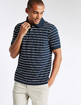 Slim Fit Pure Cotton Striped Polo Shirt , NAVY MIX, catlanding