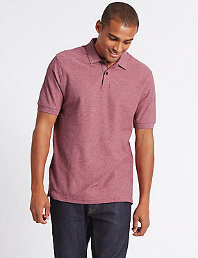 Pure Cotton Textured Polo Shirt, RASPBERRY, catlanding
