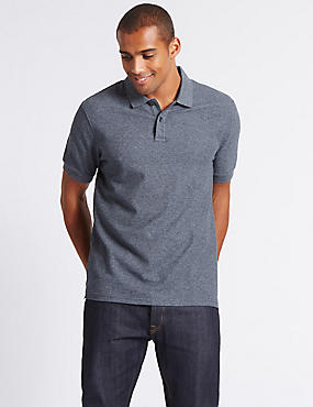 Pure Cotton Textured Polo Shirt, DENIM MIX, catlanding