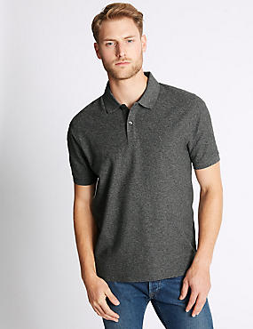 Pure Cotton Textured Polo Shirt, CHARCOAL MIX, catlanding