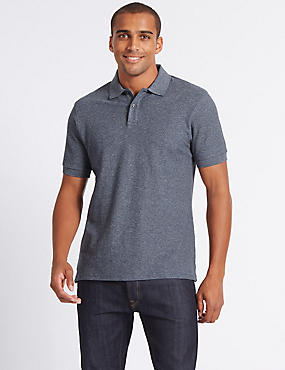 Slim Fit Pure Cotton Textured Polo Shirt, DENIM MIX, catlanding