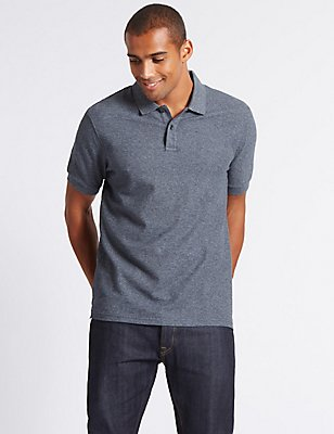 Pure Cotton Polo Shirt, DENIM MIX, catlanding