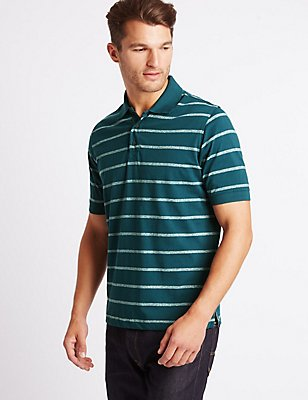 Pure Cotton Striped Polo Shirt, DARK TEAL, catlanding