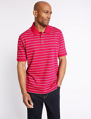 Pure Cotton Striped Polo Shirt, BRIGHT PINK, catlanding