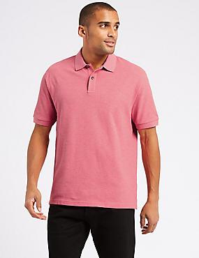 Pure Cotton Polo Shirt, PINK MIX, catlanding