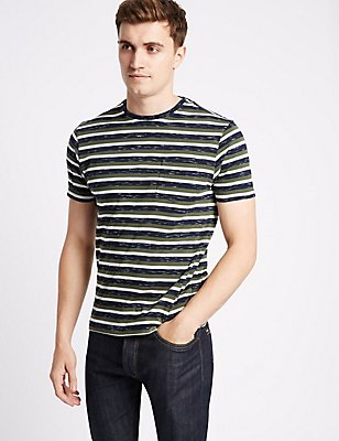 Cotton Rich Striped Crew Neck T-Shirt, MEDIUM GREEN, catlanding