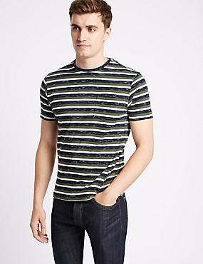 Cotton Rich Striped Crew Neck T-Shirt, MEDIUM GREEN, catlanding