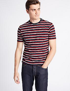 Cotton Rich Striped Crew Neck T-Shirt, CRANBERRY, catlanding