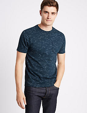 Cotton Rich Slim Fit Crew Neck T-Shirt, DENIM MIX, catlanding
