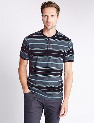 Pure Cotton Tailored Fit Stripped T-Shirt, BLUE, catlanding