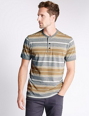 Pure Cotton Tailored Fit Stripped T-Shirt, NATURAL, catlanding