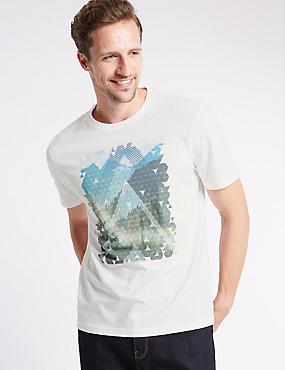 Pure Cotton Perform Print T-Shirt, WHITE, catlanding