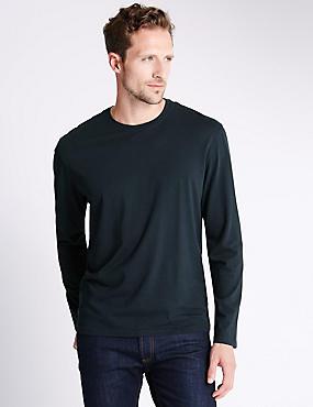 Regular Fit Pure Cotton Longsleeve T-Shirt, NAVY, catlanding