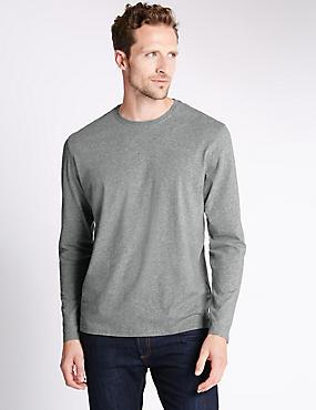 Regular Fit Pure Cotton Longsleeve T-Shirt, GREY MIX, catlanding