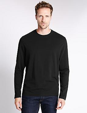 Regular Fit Pure Cotton Longsleeve T-Shirt, BLACK, catlanding