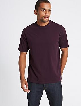 T-Shirt aus reiner Baumwolle mit Rundhalsausschnitt, TIEFVIOLETT, catlanding
