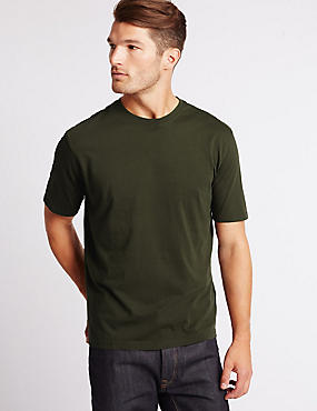 Pure Cotton Regular Fit T-Shirt with StayNEW™, BARK, catlanding