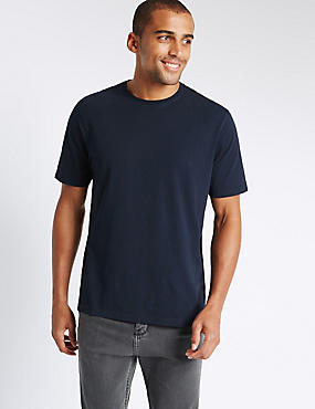 Pure Cotton Regular Fit T-Shirt with StayNEW™, NAVY, catlanding