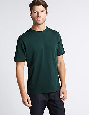 Pure Cotton Regular Fit T-Shirt with StayNEW™, DARK EVERGREEN, catlanding