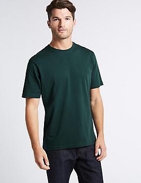 T-shirt à encolure ronde 100% coton, VERT SAPIN FONCÉ, catlanding