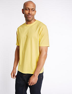 Pure Cotton Regular Fit T-Shirt with StayNEW™, BUTTERCUP, catlanding