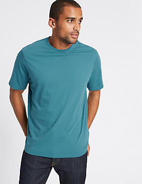 Pure Cotton Regular Fit T-Shirt with StayNEW™, PETROL GREEN, catlanding