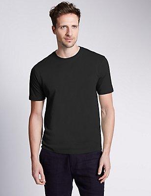 T-Shirt aus reiner Baumwolle mit Rundhalsausschnitt, SCHWARZ, catlanding