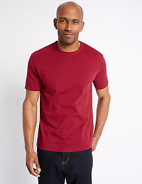Pure Cotton Slim Fit T-Shirt with StayNEW™, RED MIX, catlanding