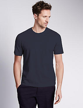 Pure Cotton Slim Fit T-Shirt with StayNEW™, NAVY, catlanding
