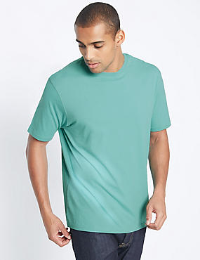 Pure Cotton Slim Fit T-Shirt with StayNEW™, SEA GREEN, catlanding