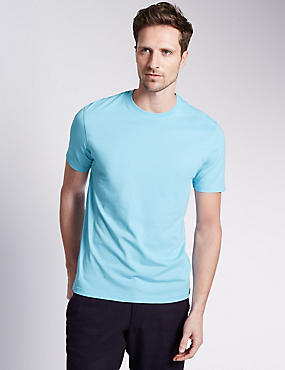Pure Cotton Slim Fit T-Shirt with StayNEW™, PALE BLUE, catlanding