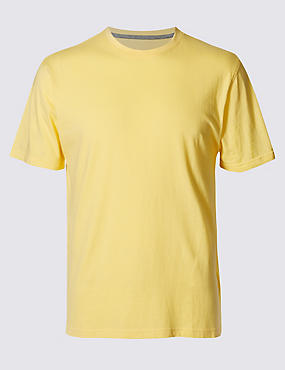 Pure Cotton Slim Fit T-Shirt with StayNEW™, YELLOW MIX, catlanding