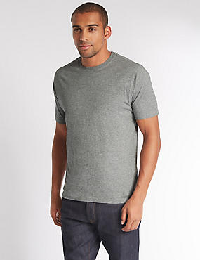 Pure Cotton Slim Fit T-Shirt with StayNEW™, GREY MARL, catlanding