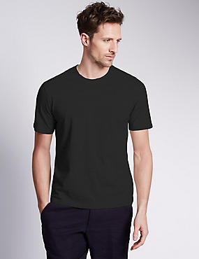 Pure Cotton Slim Fit T-Shirt with StayNEW™, BLACK, catlanding