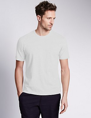 Pure Cotton Slim Fit T-Shirt with StayNEW™, WHITE, catlanding