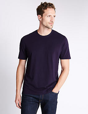 Pure Cotton Tailored Fit T-Shirt with StayNEW™, DARK PURPLE, catlanding