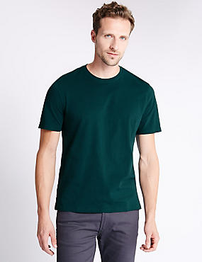Pure Cotton Tailored Fit T-Shirt with StayNEW™, BOTTLE GREEN, catlanding