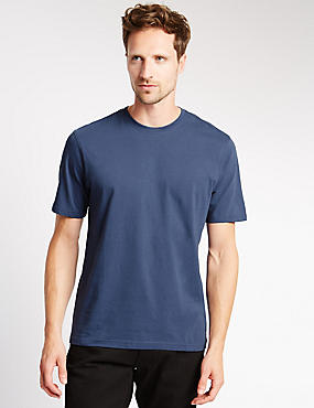 Pure Cotton Tailored Fit T-Shirt with StayNEW™, MED BLUE DENIM, catlanding