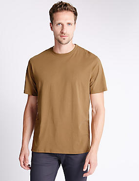 Pure Cotton Tailored Fit T-Shirt with StayNEW™, CAMEL, catlanding