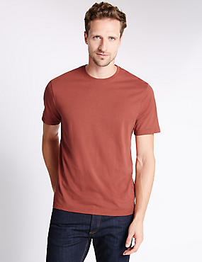 Pure Cotton Tailored Fit T-Shirt with StayNEW™, TERRACOTTA, catlanding