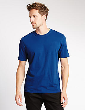 Pure Cotton Tailored Fit T-Shirt with StayNEW™, INDIGO, catlanding