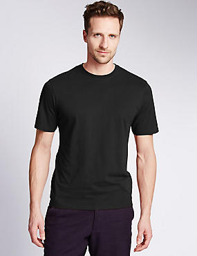 Pure Cotton Tailored Fit T-Shirt with StayNEW™, BLACK, catlanding