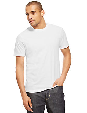 Pure Cotton Tailored Fit T-Shirt with StayNEW™, WHITE, catlanding