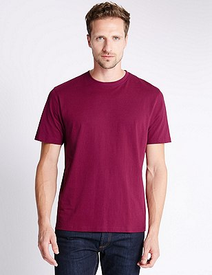 Big & Tall Pure Cotton Stay Soft T-Shirt with StayNEW™, RASPBERRY, catlanding