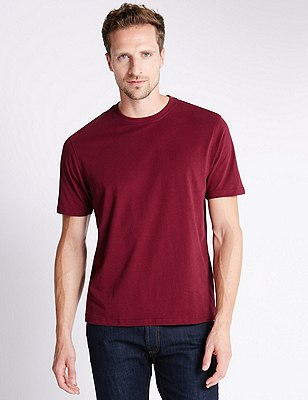 Big & Tall Pure Cotton Stay Soft T-Shirt with StayNEW™, DARK WINE, catlanding