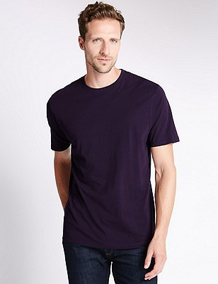 Big & Tall Pure Cotton Stay Soft T-Shirt with StayNEW™, DARK PURPLE, catlanding